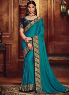 Fancy Fabric Blue Patch Border Traditional Designer Saree