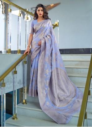 Fancy Fabric Blue Weaving Traditional Designer Saree