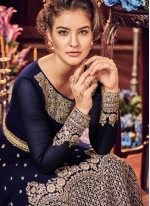 Fancy Fabric Blue Zari Floor Length Anarkali Suit