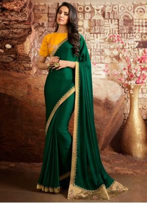 Fancy Fabric Bollywood Saree in Sea Green