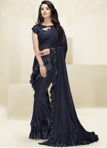 Fancy Fabric Border Navy Blue Designer Saree