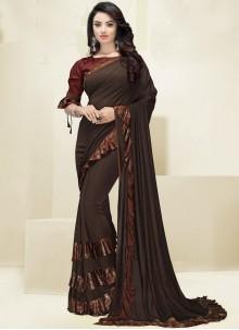 Fancy Fabric Brown Border Designer Saree