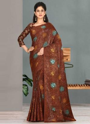 Fancy Fabric Brown Designer Traditional Saree