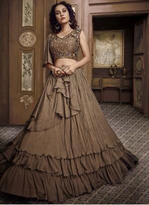 Fancy Fabric Brown Embroidered Designer Lehenga Choli