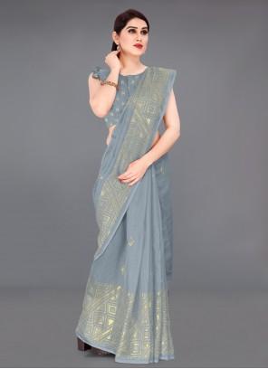 Grey Fancy Fabric Casual Printed Saree