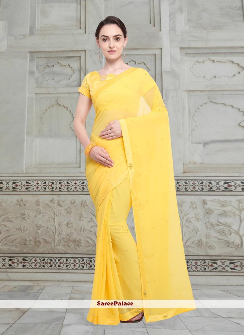 Yellow Fancy Fabric Casual Saree