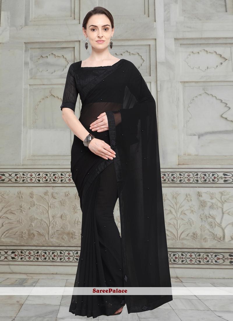 Fancy Fabric Casual Saree in Black