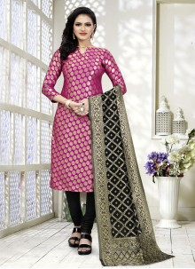 Fancy Fabric Churidar Suit in Pink