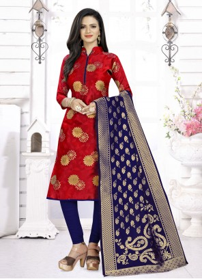 Fancy Fabric Churidar Suit in Red
