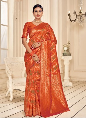 Orange Fancy Fabric Classic Designer Saree