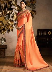 Fancy Fabric Classic Designer Saree in Peach