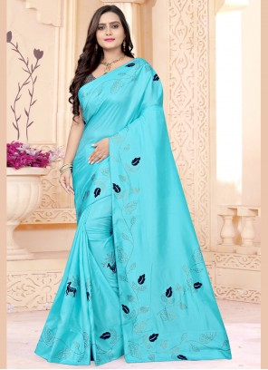 Fancy Fabric Classic Saree in Aqua Blue