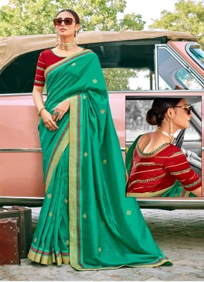 Fancy Fabric Classic Saree in Green