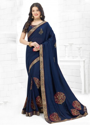 Fancy Fabric Classic Saree in Navy Blue