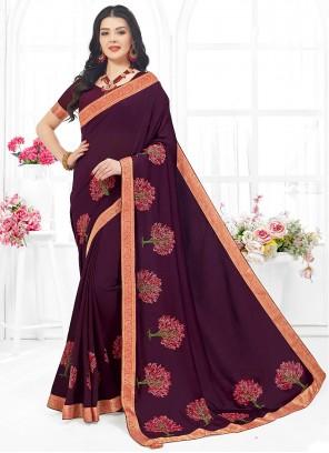Fancy Fabric Classic Saree in Purple