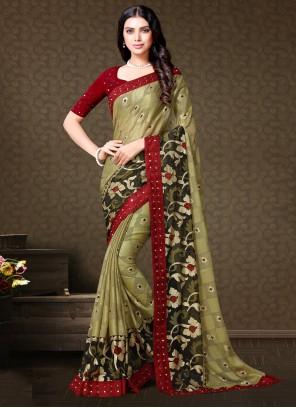 Fancy Fabric Contemporary Saree in Multi Colour