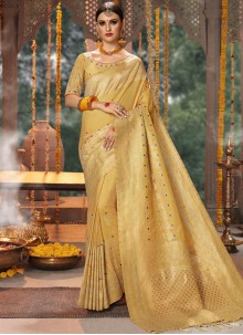 Fancy Fabric Cream Designer Traditional Saree