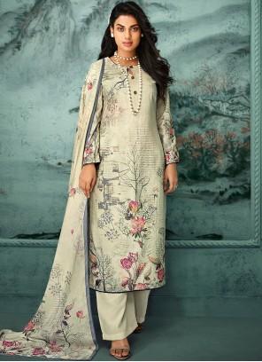 Fancy Fabric Cream Digital Print Designer Palazzo Salwar Suit
