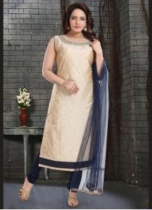Fancy Fabric Cream Handwork Churidar Designer Suit