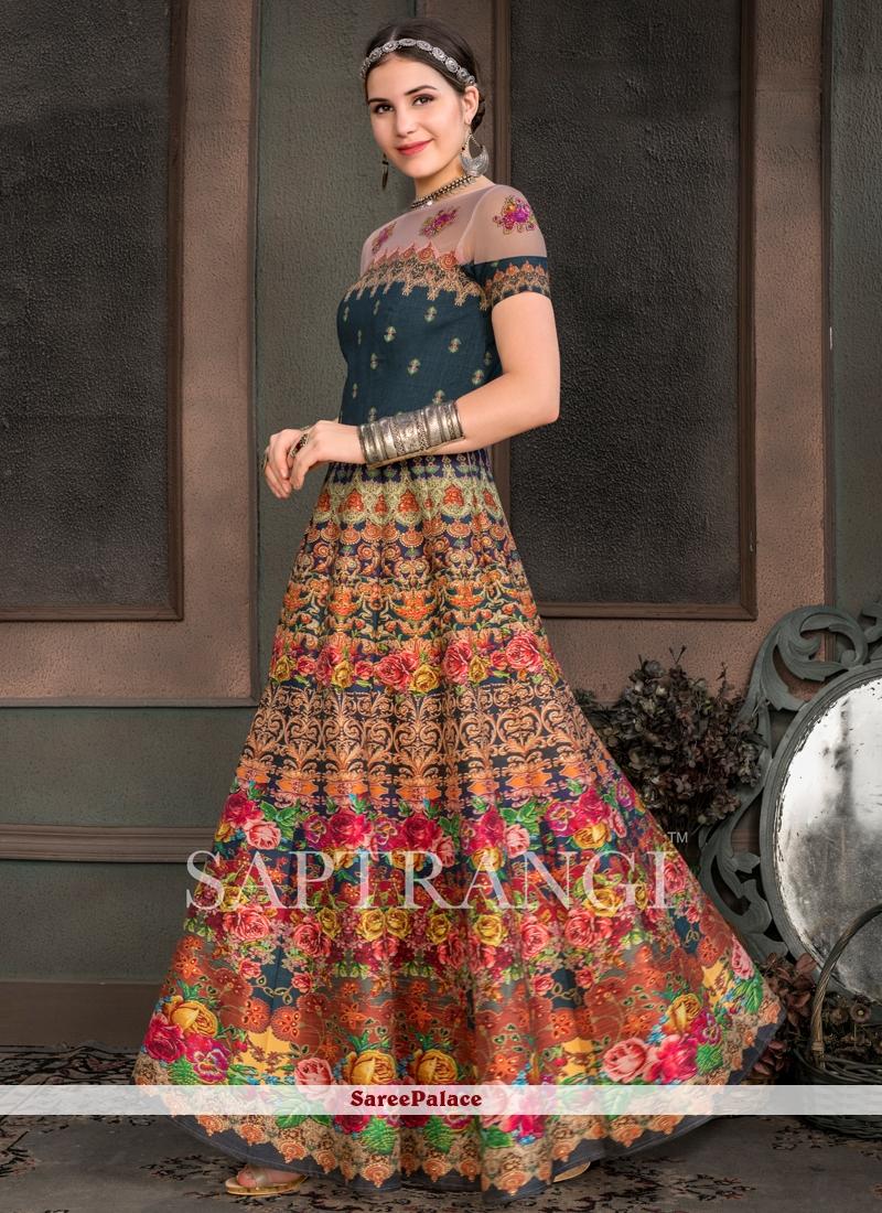 Fancy Fabric Multi Colour Designer Gown