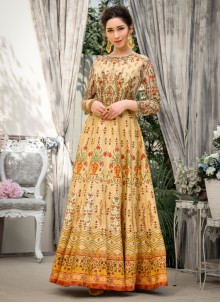 Fancy Fabric Designer Gown in Beige