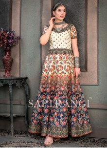 Fancy Fabric Designer Gown in Multi Colour