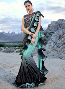 Fancy Fabric Designer Half N Half Saree in Black and Turquoise