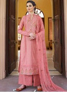 Fancy Fabric Designer Pakistani Suit in Pink