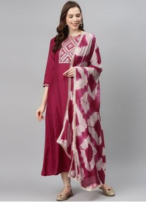 Fancy Fabric Magenta Designer Palazzo Salwar Suit