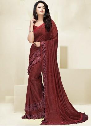 Fancy Fabric Designer Saree in Maroon