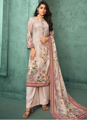 Fancy Fabric Digital Print Pink Designer Palazzo Salwar Suit