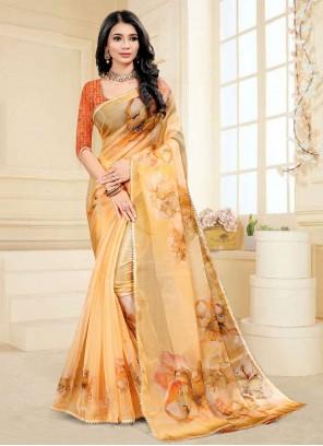Fancy Fabric Digital Print Orange Printed Saree
