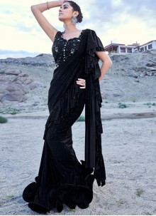 Fancy Fabric Embroidered Black Classic Designer Saree