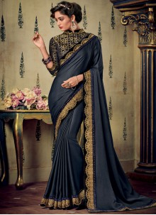 Fancy Fabric Embroidered Blue Designer Saree