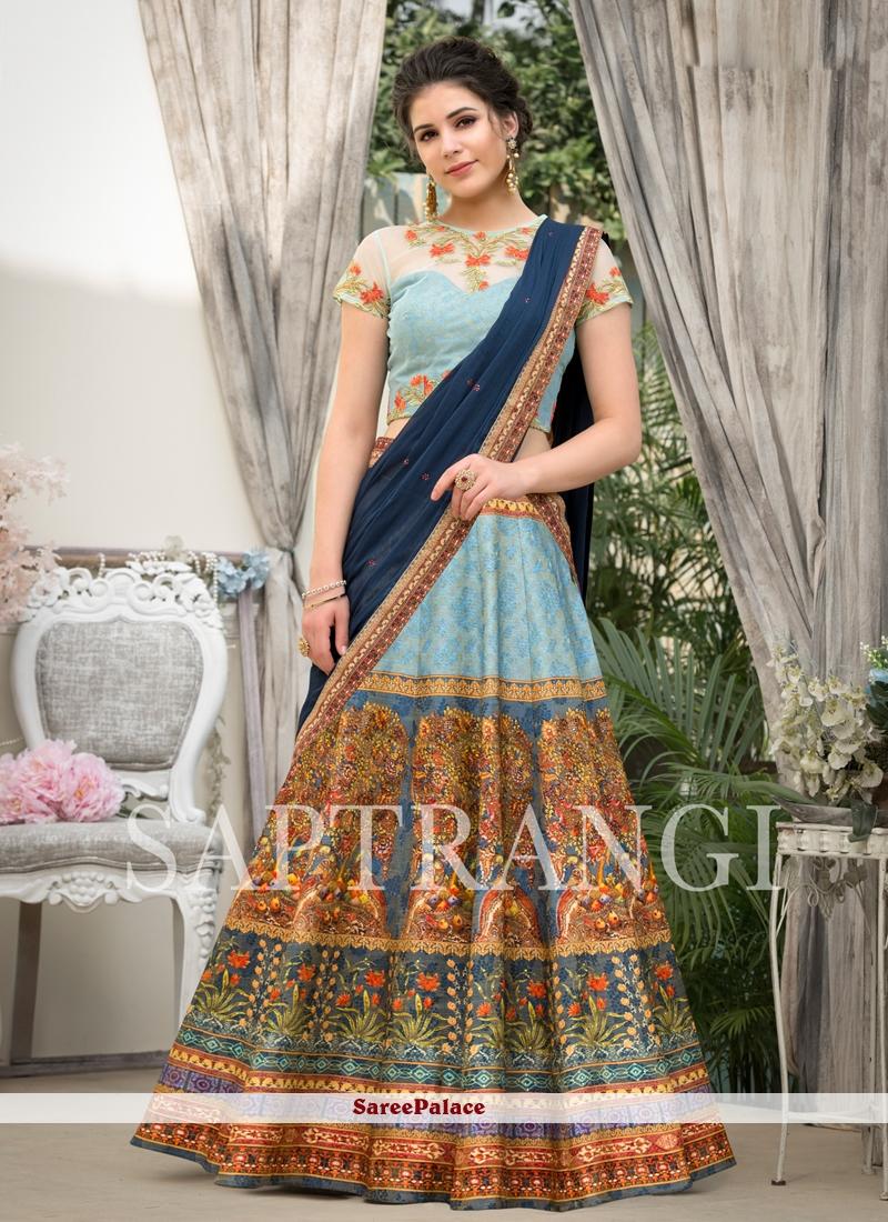 Fancy Fabric Embroidered Blue Lehenga Choli