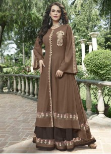 Fancy Fabric Embroidered Brown Designer Gown