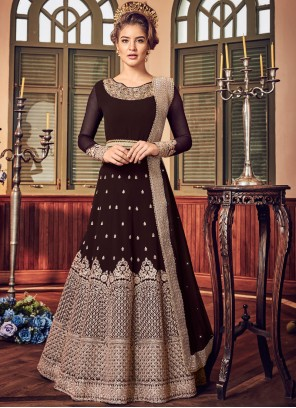 Fancy Fabric Embroidered Brown Floor Length Anarkali Suit
