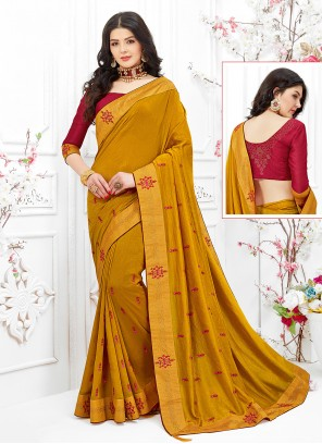 Fancy Fabric Embroidered Classic Designer Saree