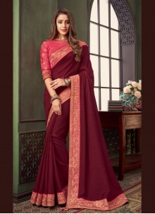 Fancy Fabric Magenta Embroidered Classic Saree