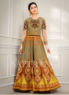 Fancy Fabric Embroidered Designer Gown