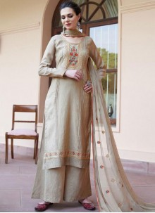 Fancy Fabric Embroidered Designer Pakistani Suit in Beige