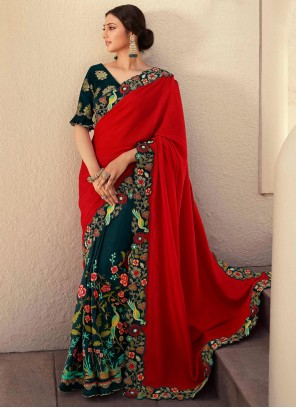 Fancy Fabric Embroidered Green and Red Designer Half N Half Saree