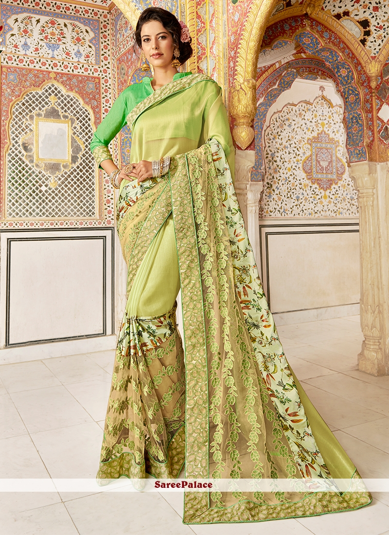 Fancy Fabric Embroidered Green Designer Saree