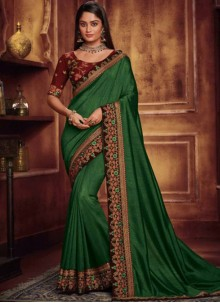 Fancy Fabric Embroidered Green Traditional Designer Saree