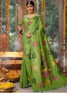 Fancy Fabric Embroidered Green Traditional Saree