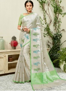 Fancy Fabric Embroidered Grey and Sea Green Classic Saree