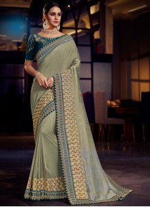 Fancy Fabric Embroidered Grey Classic Saree