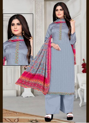 Fancy Fabric Embroidered Grey Designer Palazzo Suit