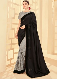 Fancy Fabric Embroidered Half N Half  Saree