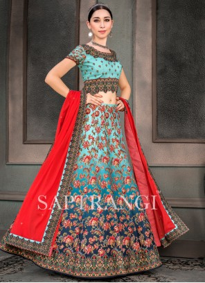Fancy Fabric Embroidered Lehenga Choli in Multi Colour